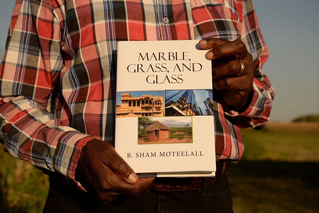 Sham Moteelall and his book Marble, Grass, and Glass